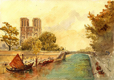 Seine River Wall Art - Painting - Notre Dame Paris. by Juan  Bosco
