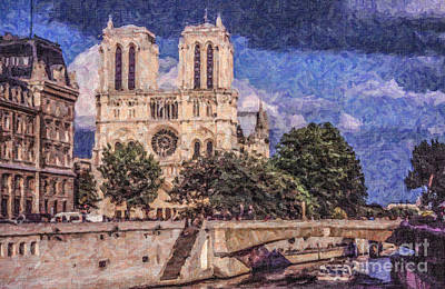 Digital Art - Notre Dame Paris by Liz Leyden