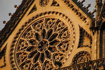 Photograph - Notre Dame Rose Window Exterior by Jacqueline M Lewis