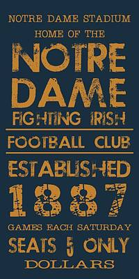 Universities Digital Art - Notre Dame Stadium Sign by Jaime Friedman
