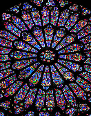 Photograph - Notre Dame Stained Glass by Larry Oskin
