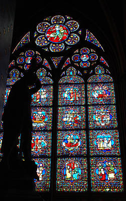 Notre Dame Stained Glass Silhouette Print by Jennifer Ancker