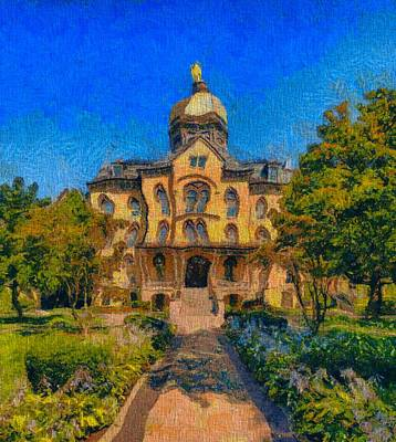 Virgin Mary Mixed Media - Notre Dame University Meets Van Gogh by Dan Sproul
