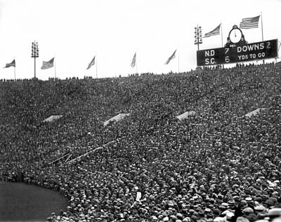 Soldier Field Photograph - Notre Dame-usc Scoreboard by Underwood Archives