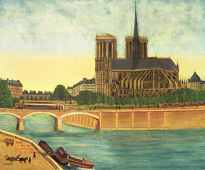 Ile De La Cite Photograph - Notre-dame View Of The Apse C.1933 Oil On Canvas by Louis Vivin