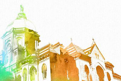 Universities Digital Art - Notre Dame Watercolor by Dan Sproul