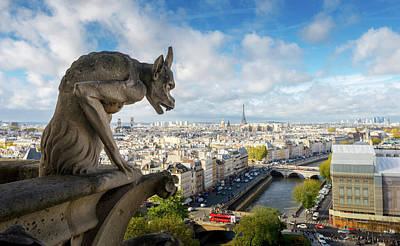 Photograph - Notre Dames Gargoyle Looks At Paris by Noppawat Tom Charoensinphon