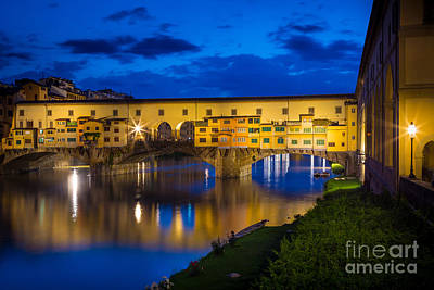 Tuscan Sunset Photograph - Notte A Ponte Vecchio by Inge Johnsson