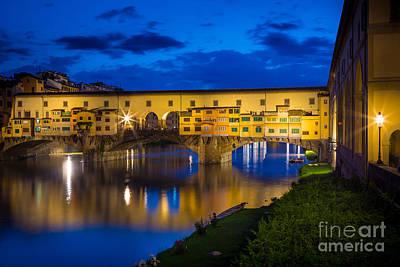 Notte A Ponte Vecchio Print by Inge Johnsson