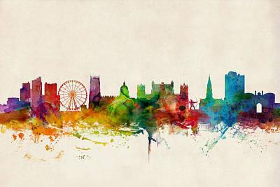 Great Britain Digital Art - Nottingham England Skyline by Michael Tompsett