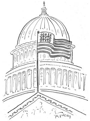 Capitol Building Wall Art - Drawing - Noughts And Crosses On An American Flag by Mike Twohy