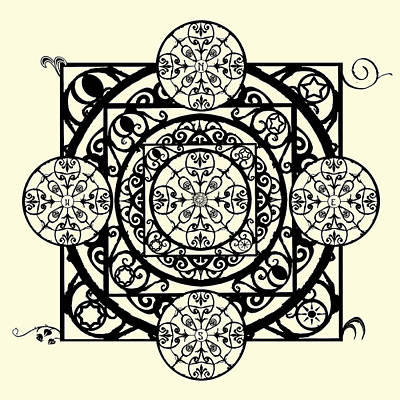 Digital Art - Nouveau Garden Gate Mandala by Deborah Smith