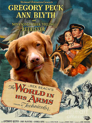 Painting - Nova Scotia Duck Tolling Retriever Art Canvas Print - The World In His Arms Movie Poster by Sandra Sij
