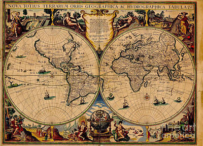 Nova Totius Terrarum Orbis Geographica Ac Hydrographica Tabula Old World Map Art Print by Inspired Nature Photography Fine Art Photography