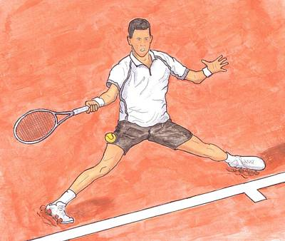 Djokovic Painting - Novak Djokovic Sliding On Clay by Steven White