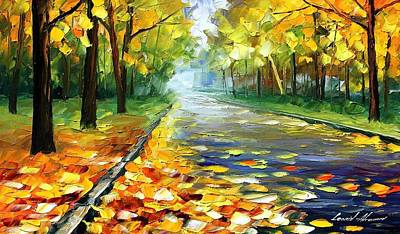 Mood Painting - November Alley - Palette Knife Landscape Autumn Alley Oil Painting On Canvas By Leonid Afremov - Siz by Leonid Afremov