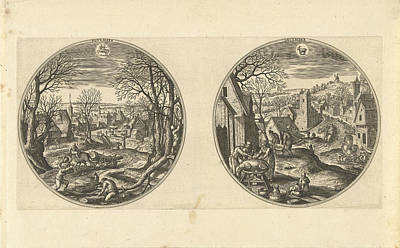 Autumn Landscape Drawing - November And December, Adriaen Collaert, Hans Bol by Adriaen Collaert And Hans Bol And Hans Van Luyck