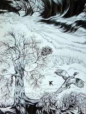 Autumn Landscape Drawing - November by Anna  Duyunova