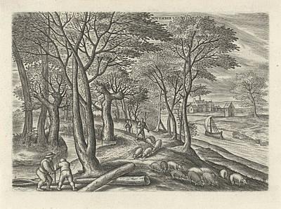 Autumn Scene Drawing - November, Julius Goltzius, Gillis Mostaert by Julius Goltzius And Gillis Mostaert (i) And Claes Jansz. Visscher (ii)