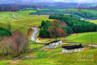 Farm Fields Painting - November Road II - Blue Ridge Mountains by Dan Carmichael