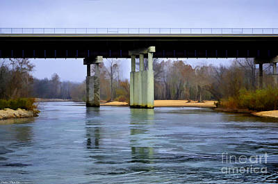 Photograph - November Under The Brige - Current River Near Van Beauren Mo - Digital Paint 1 by Debbie Portwood