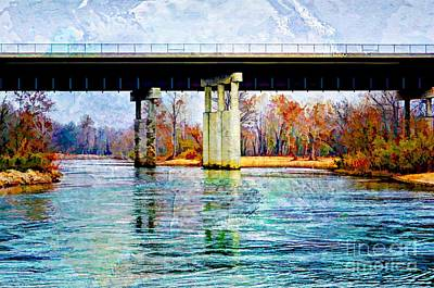 Photograph - November Under The Brige - Current River Near Van Beauren Mo - Digital Paint 2 by Debbie Portwood