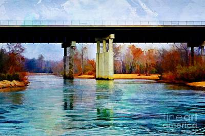Photograph - November Under The Brige - Current River Near Van Beauren Mo - Digital Paint 3 by Debbie Portwood