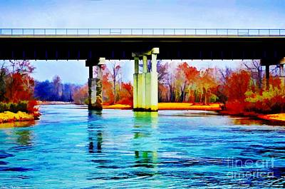 Photograph - November Under The Brige - Current River Near Van Beauren Mo - Digital Paint 4 by Debbie Portwood