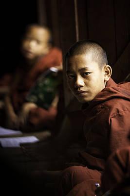 Novice Monk Portrait In Shwe Yaunghwe Kyaung Monastery Print by Ruben Vicente