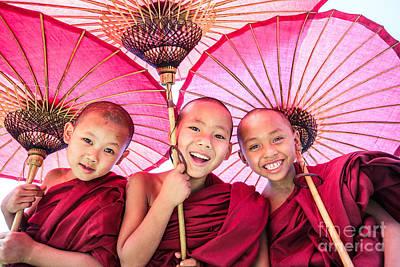 Novice Monks - Myanmar Print by Matteo Colombo
