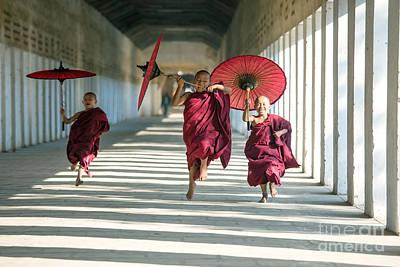 Myanmar Photograph - Novice Monks On The Run - Myanmar by Matteo Colombo