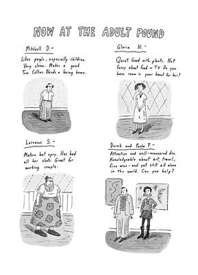Now At The Adult Pound Art Print by Roz Chast