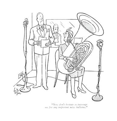Musicians Playing Drawing - Now Don't Hesitate To Interrupt Me For Any by George Price