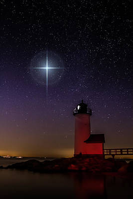 Star Over Annisquam Lighthouse Art Print by Jeff Folger