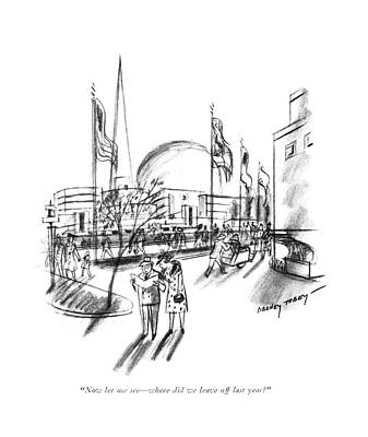 Amusement Park Drawing - Now Let Me See - Where Did We Leave Off Last Year? by Barney Tobey