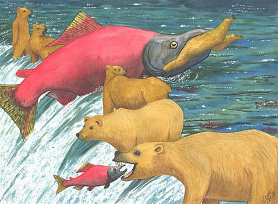 Salmon Painting - Now That's A Keeper by Catherine G McElroy