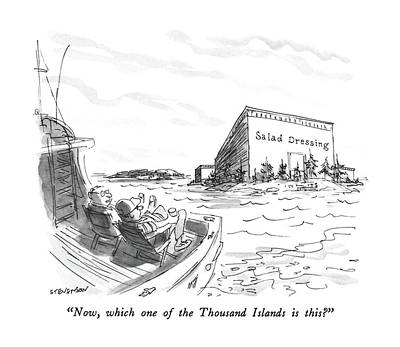 Thousand Islands Drawing - Now, Which One Of The Thousand Islands Is This? by James Stevenson