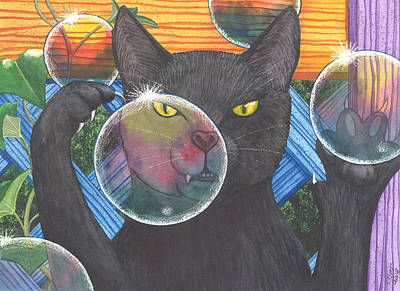 Wicked Kitty Painting - Now You See It by Catherine G McElroy