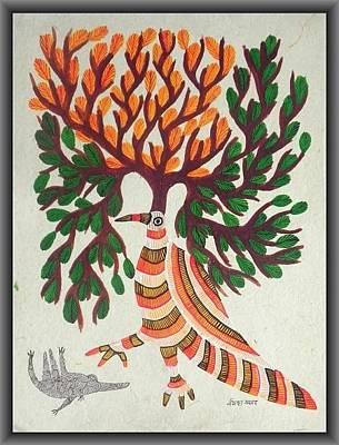 Gond Painting - Npt 15 by Narmada Prasad Tekam