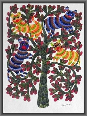 Gond Painting - Npt 17 by Narmada Prasad Tekam