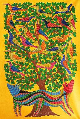 Indian Tribal And Folk Art Painting - Npt 52 by Narmada Prasad Tekam