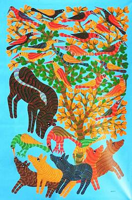 Indian Tribal And Folk Art Painting - Npt 53 by Narmada Prasad Tekam