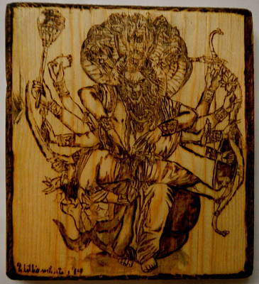 Pyrography On Wood Pyrography - Nrisimhadeva by William Waters