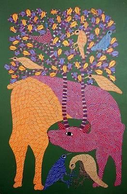 Gond Painting - Ns 17 by Nankusia Shyam