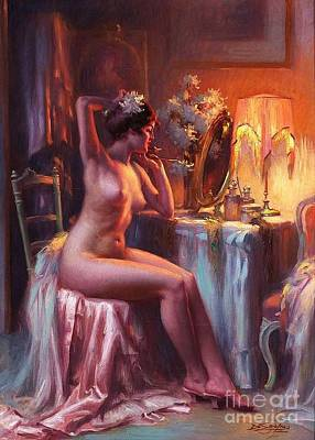 Lamplight Painting - Nu A Sa Coiffeuse by Pg Reproductions