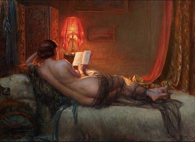 Art Print featuring the painting Nu De Dos A La Peau Dours  by Delphin Enjolras