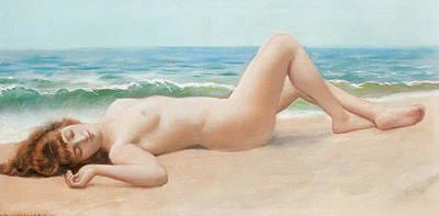 Seascape Digital Art - Nu Sur La Plage by John William Godward