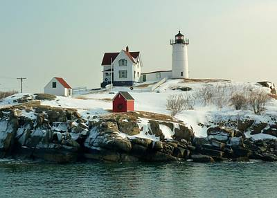 Nubble In Winter Art Print by Elaine Franklin