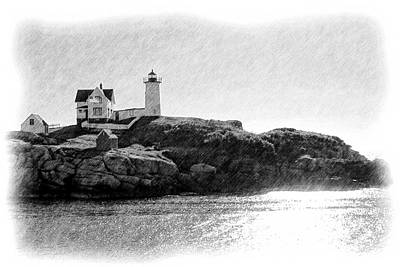 Maine Landscapes Drawing - Nubble by Jenny Hudson