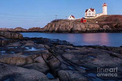 Cape Neddick Light Station Photograph - Nubble Light Along Maine's Rugged Coast York Beach Maine by Dawna  Moore Photography